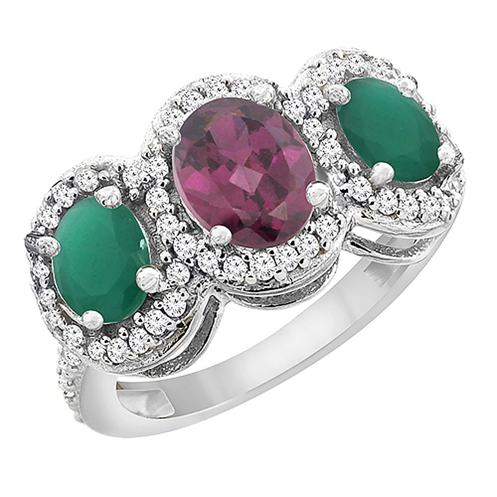 10K White Gold Natural Rhodolite & Emerald 3-Stone Ring Oval Diamond Accent, sizes 5 - 10