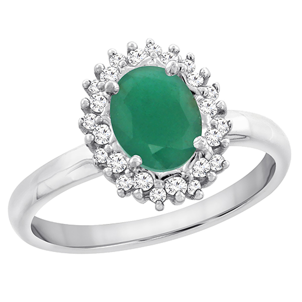 14K White Gold Diamond Natural Cabochon Emerald Engagement Ring Oval 7x5mm, sizes 5 - 10
