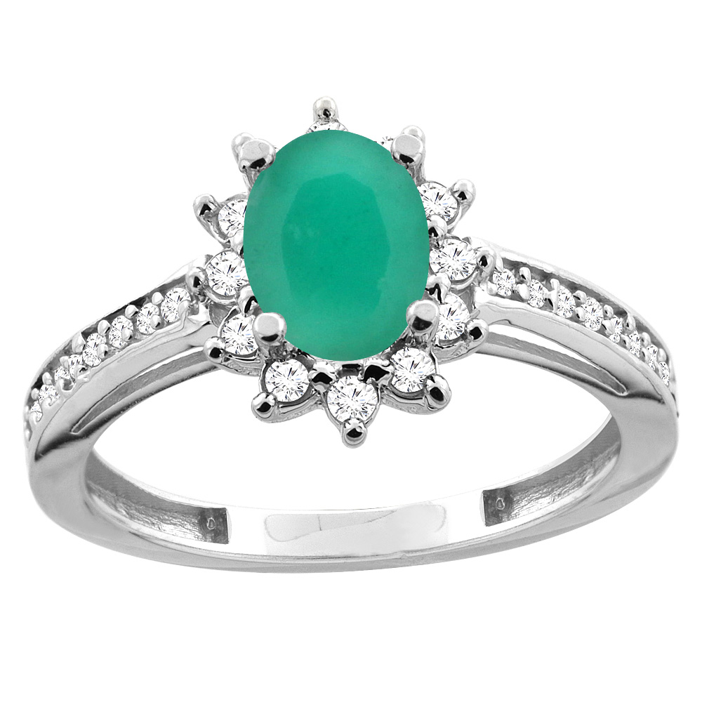 14K White/Yellow Gold Diamond Natural Cabochon Emerald Floral Halo Engagement Ring Oval 7x5mm, sizes 5 - 10