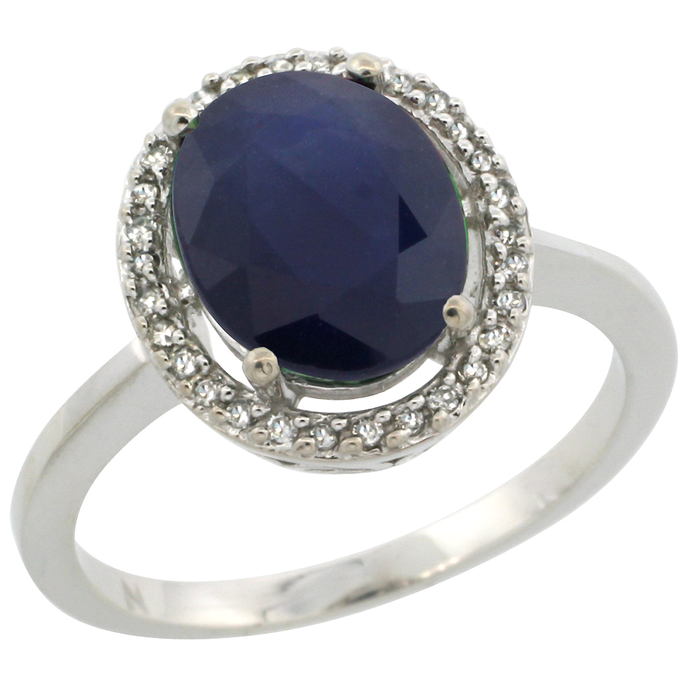 10K White Gold Diamond Halo Natural Blue Sapphire Engagement Ring Oval 10x8 mm, sizes 5-10