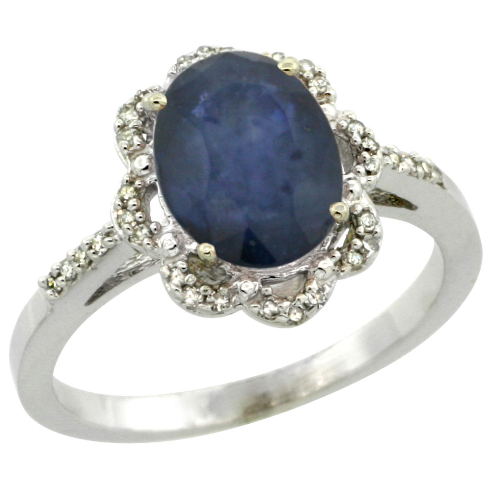 14K White Gold Diamond Halo Natural Blue Sapphire Engagement Ring Oval 9x7mm, sizes 5-10