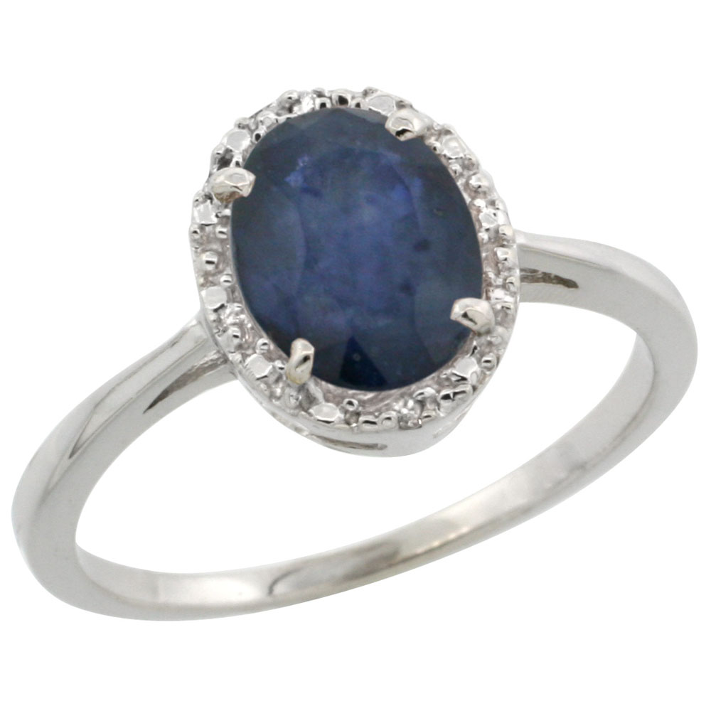 14K White Gold Natural Blue Sapphire Ring Oval 8x6 mm Diamond Halo, sizes 5-10