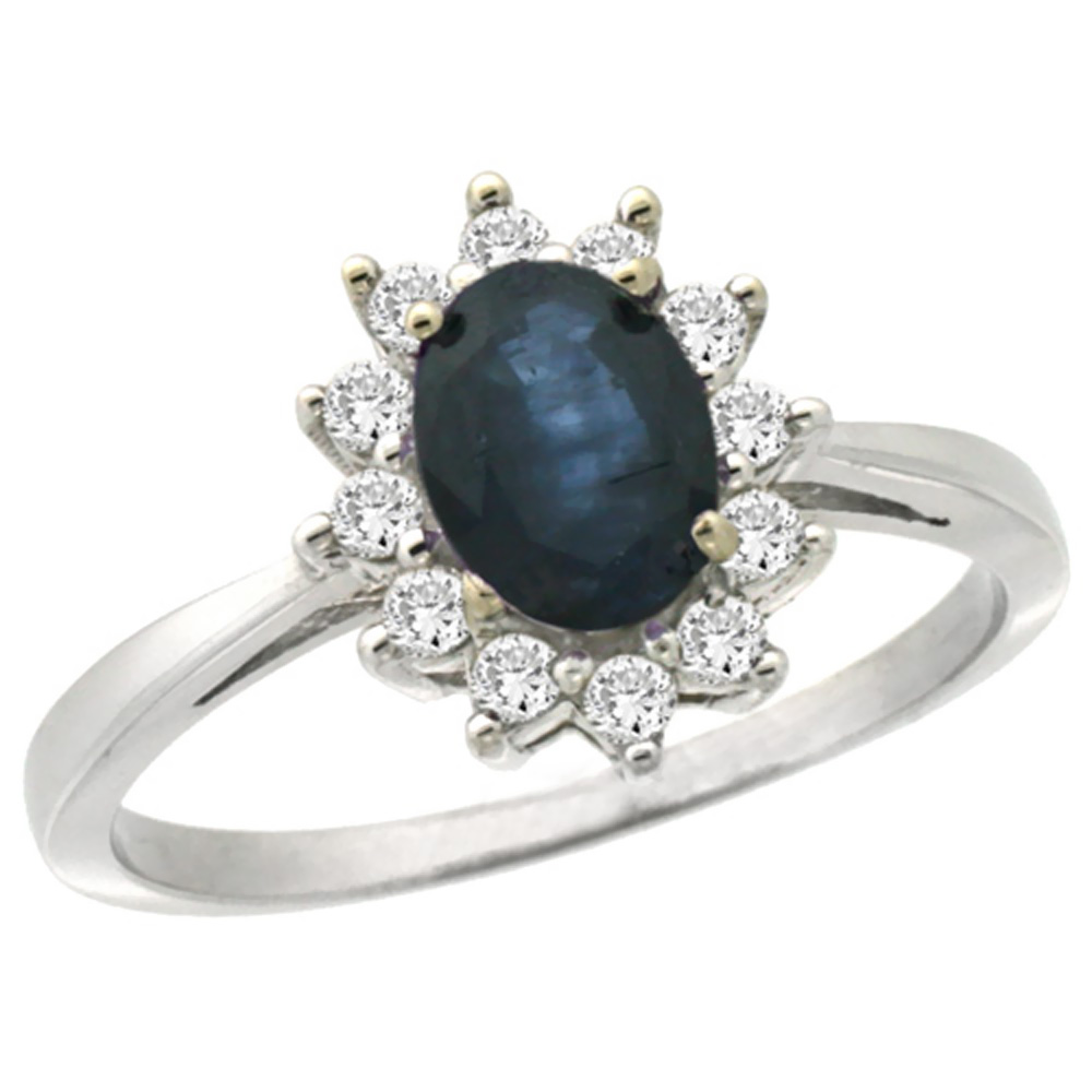 14K White Gold Natural Blue Sapphire Engagement Ring Oval 7x5mm Diamond Halo, sizes 5-10
