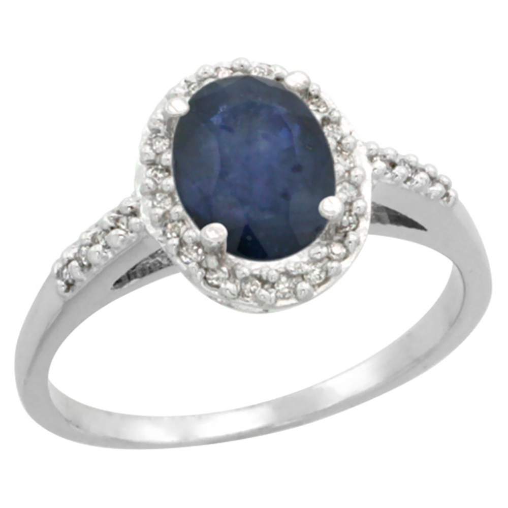 14K White Gold Natural Diamond Blue Sapphire Ring Oval 8x6mm, sizes 5-10
