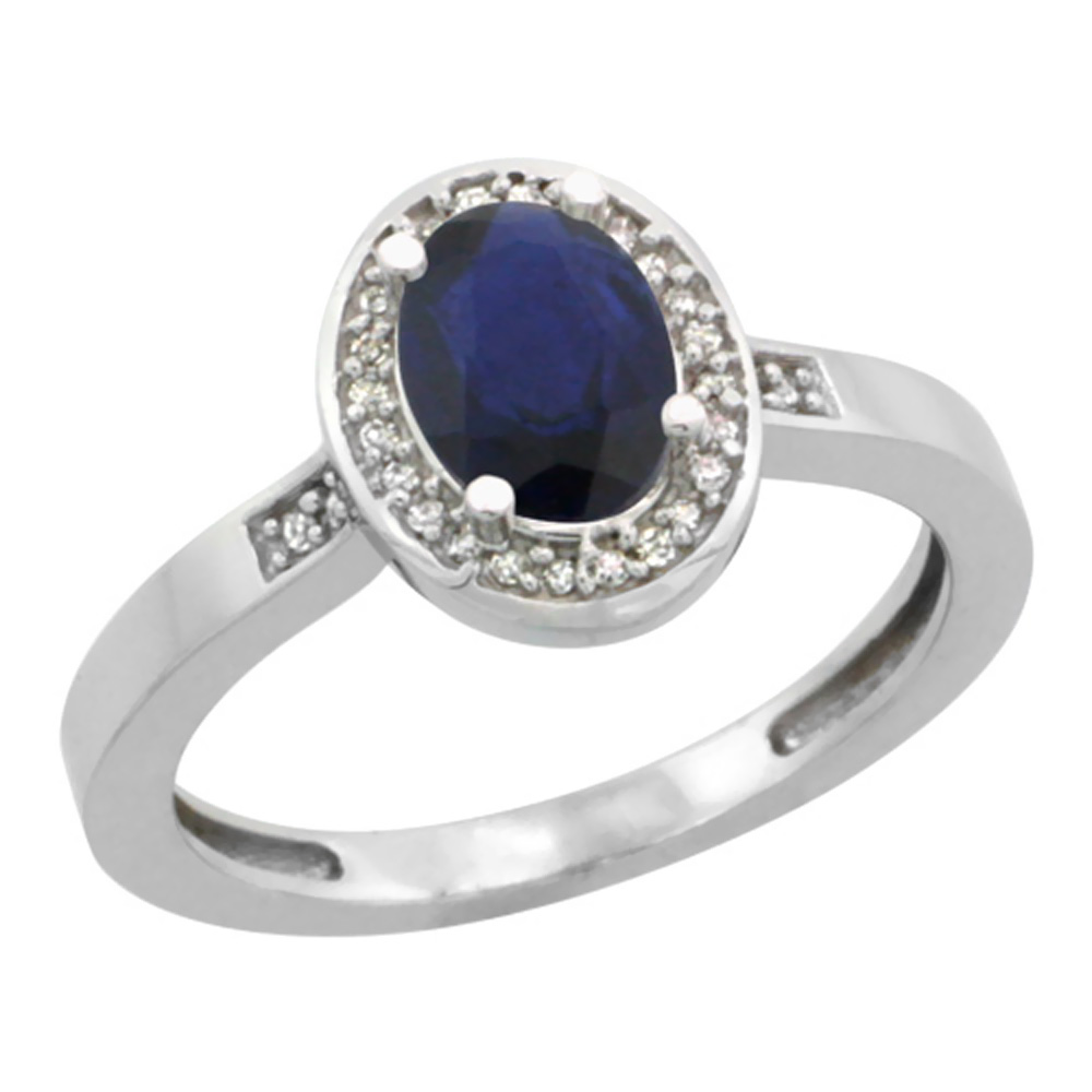 14K White Gold Diamond Natural Blue Sapphire Engagement Ring Oval 7x5mm, sizes 5-10
