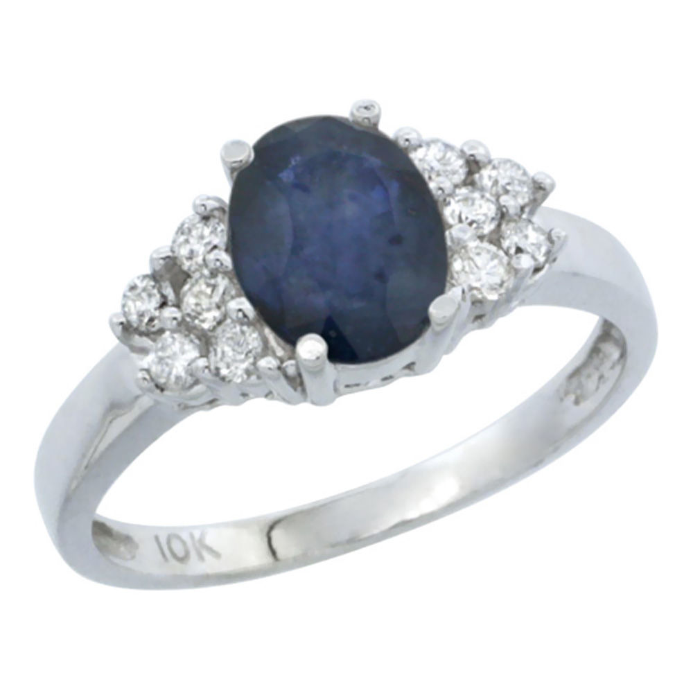 14K White Gold Natural Blue Sapphire Ring Oval 8x6mm Diamond Accent, sizes 5-10