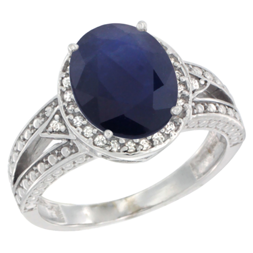 10k White Gold Natural Diffused Ceylon Sapphire Ring Oval 9x7 mm Diamond Halo, sizes 5 - 10