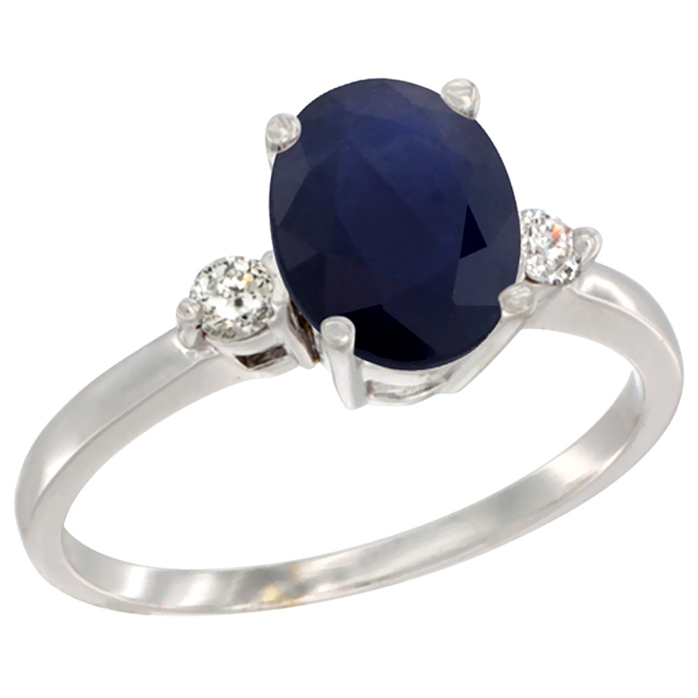 10K White Gold Natural Diffused Ceylon Sapphire Ring Oval 9x7 mm Diamond Accent, sizes 5 to 10