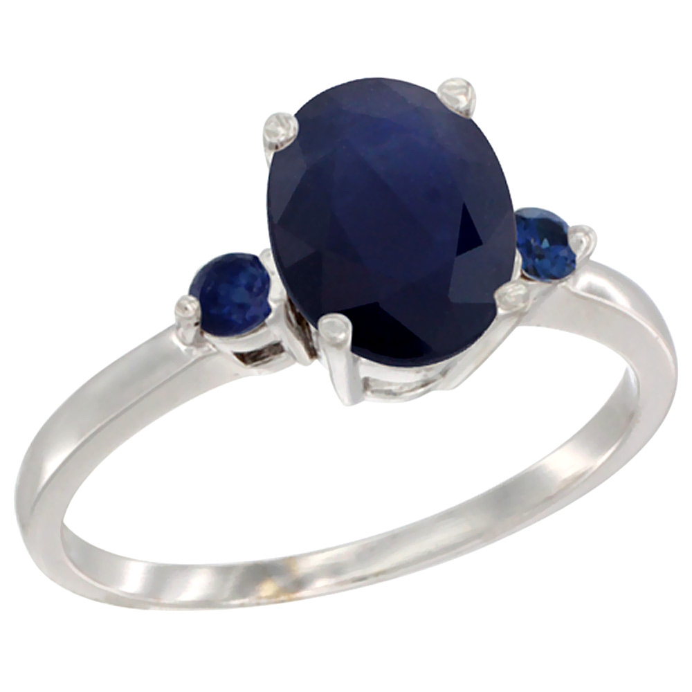 10K White Gold Natural Diffused Ceylon Sapphire Ring Oval 9x7 mm Blue Sapphire Accent, sizes 5 to 10