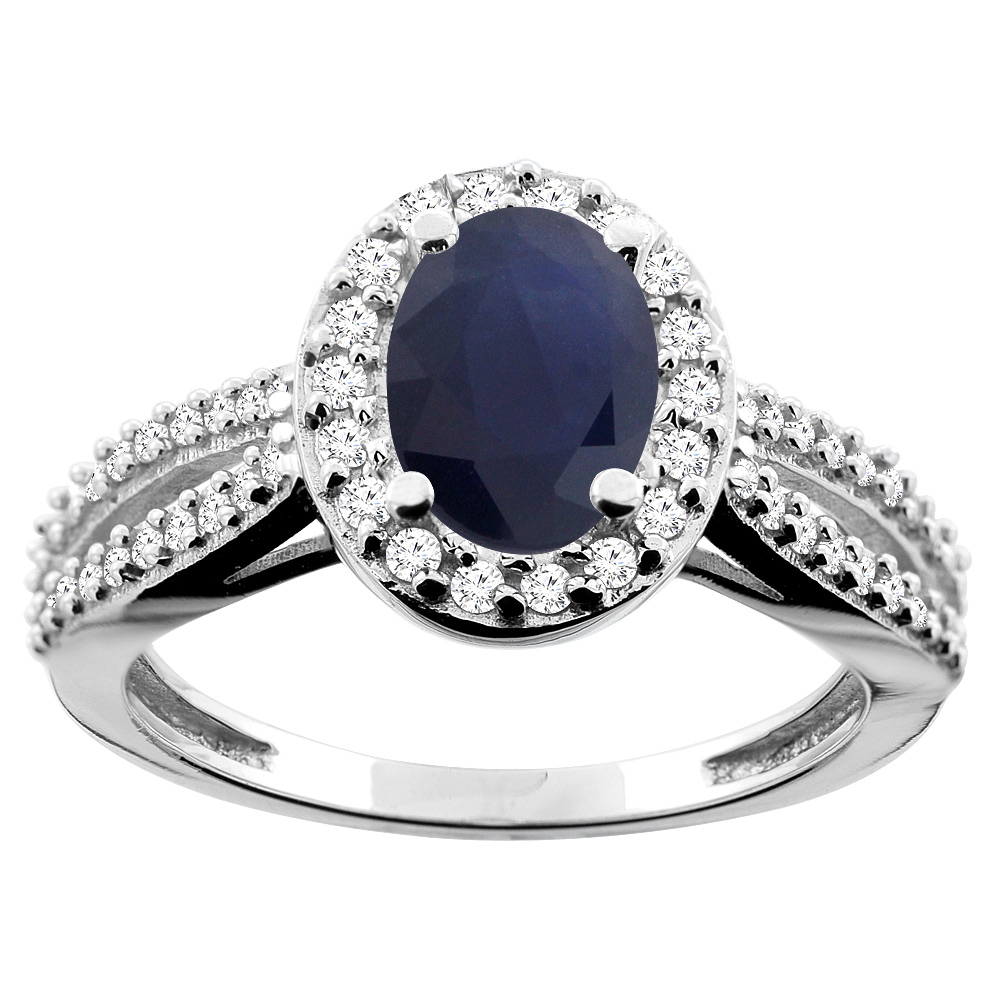 14K White/Yellow/Rose Gold Natural Australian Sapphire Ring Oval 8x6mm Diamond Accent, size 5