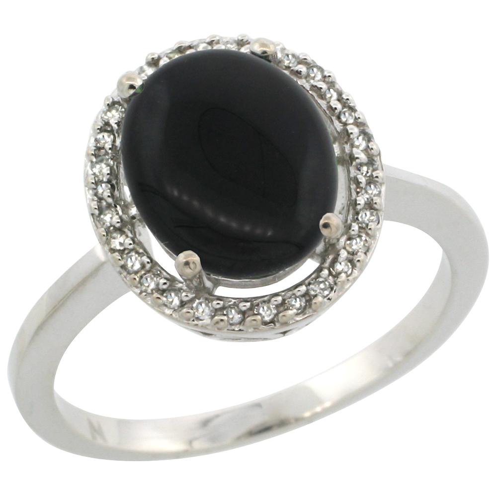 10K White Gold Diamond Halo Natural Black Onyx Engagement Ring Oval 10x8 mm, sizes 5-10