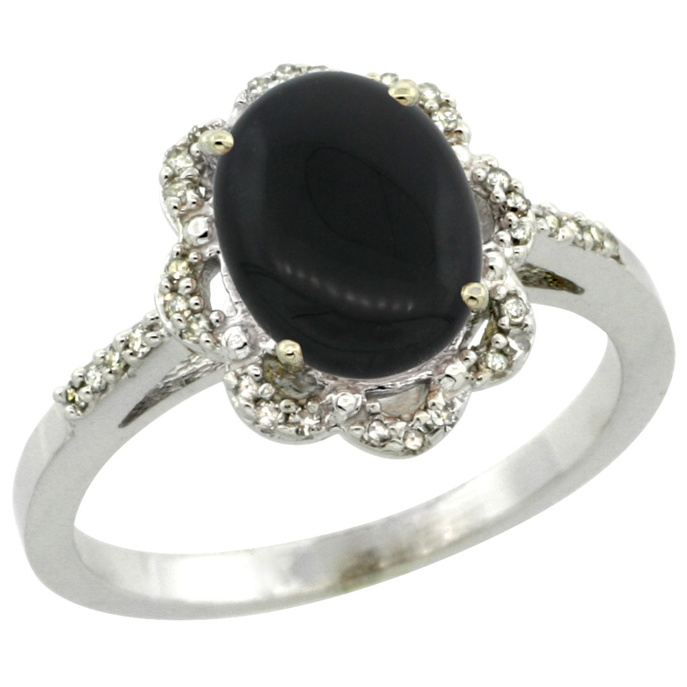 10K White Gold Diamond Halo Natural Black Onyx Engagement Ring Oval 9x7mm, sizes 5-10