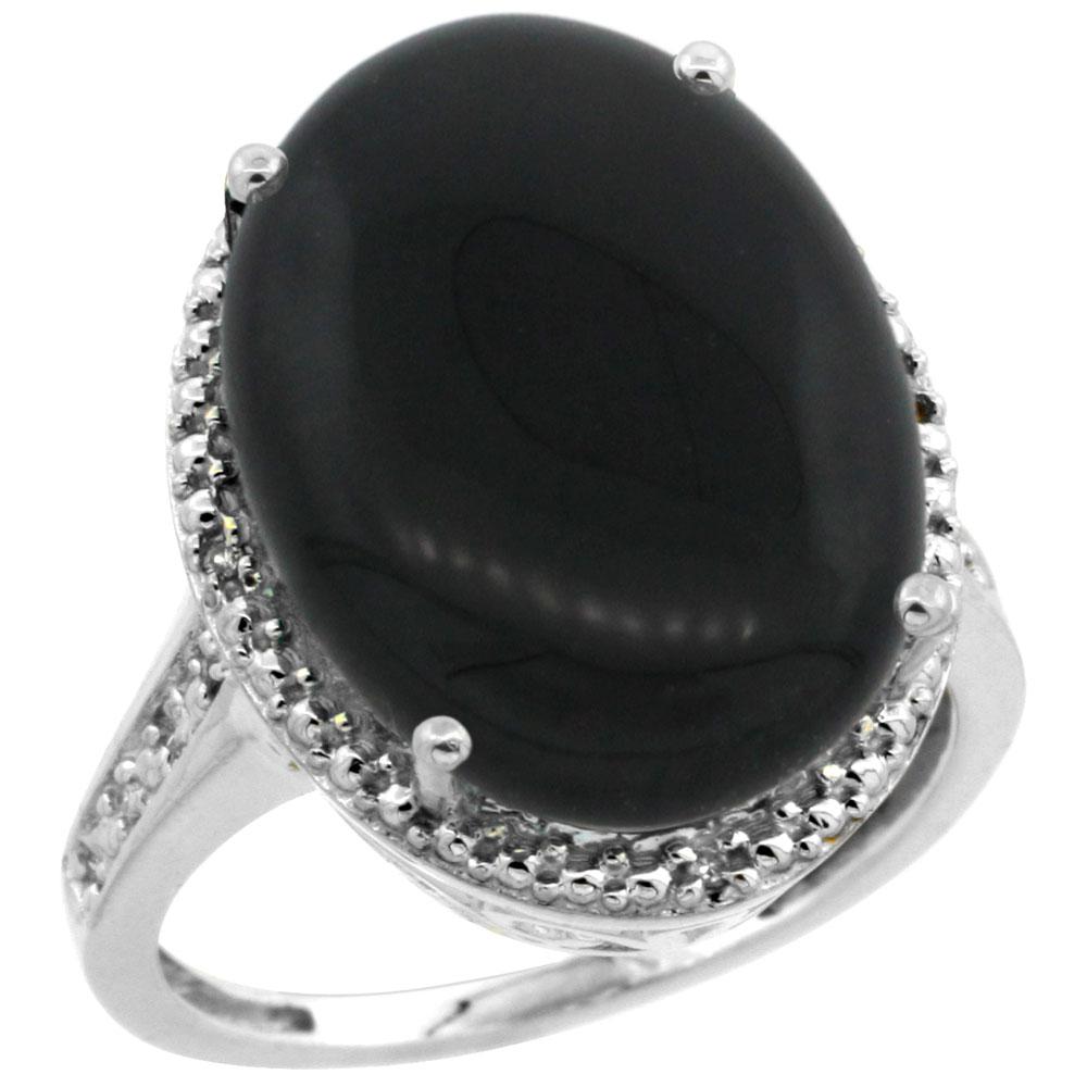 10K White Gold Diamond Natural Black Onyx Ring Oval 18x13mm, sizes 5-10
