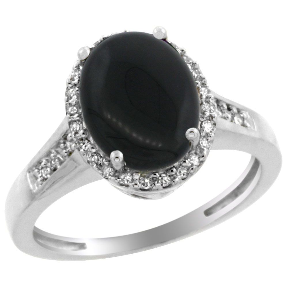 10K White Gold Diamond Natural Black Onyx Engagement Ring Oval 10x8mm, sizes 5-10