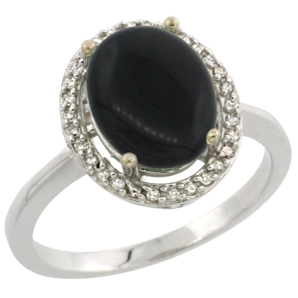 10K White Gold Diamond Natural Black Onyx Engagement Ring Oval 10x8mm, sizes 5-10