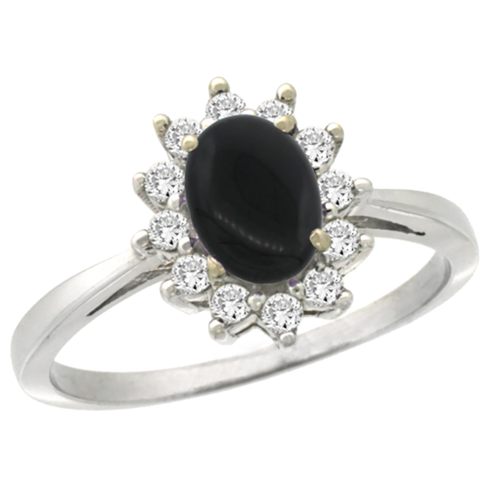 10k White Gold Natural Black Onyx Engagement Ring Oval 7x5mm Diamond Halo, sizes 5-10