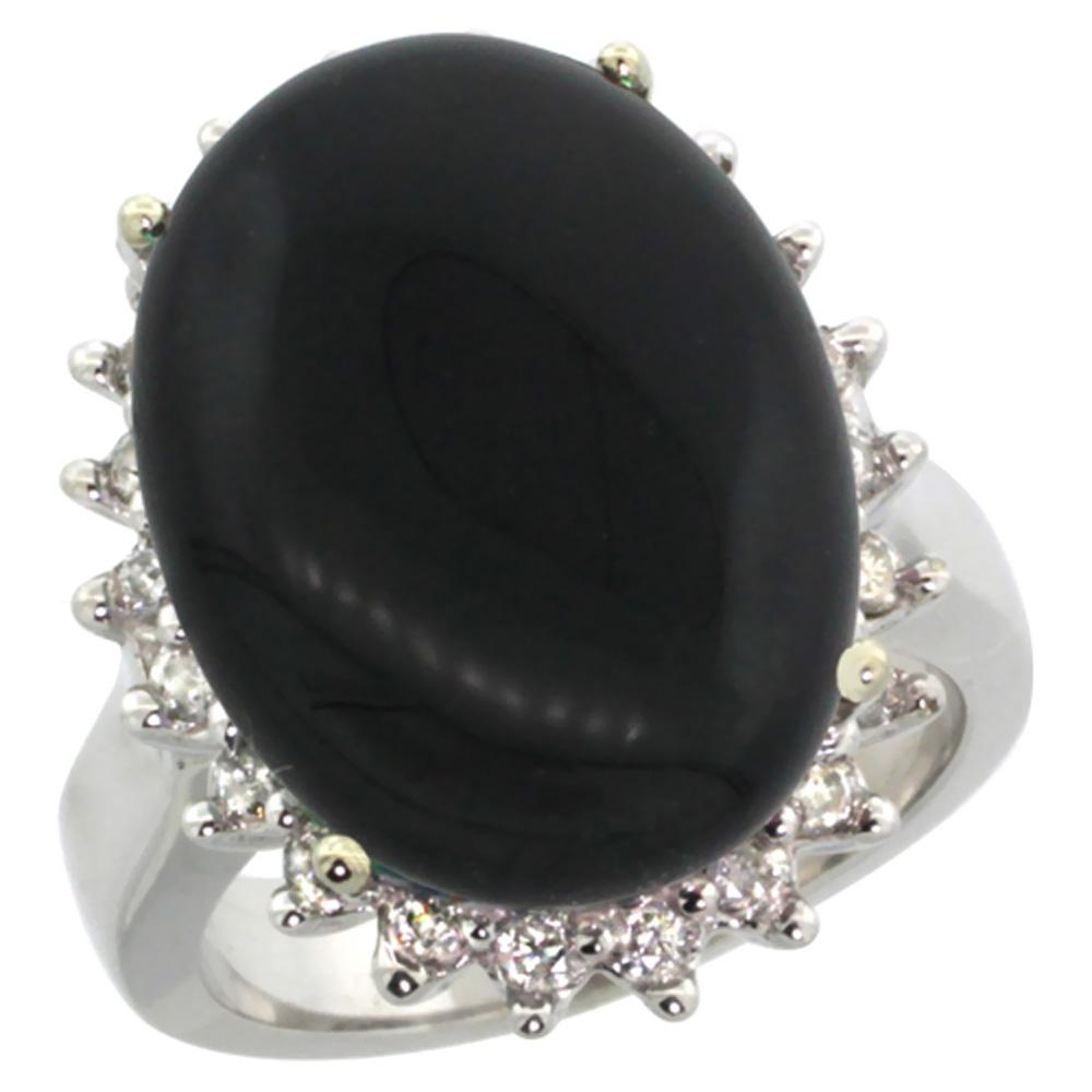 10k White Gold Diamond Halo Natural Black Onyx Ring Large Oval 18x13mm, sizes 5-10