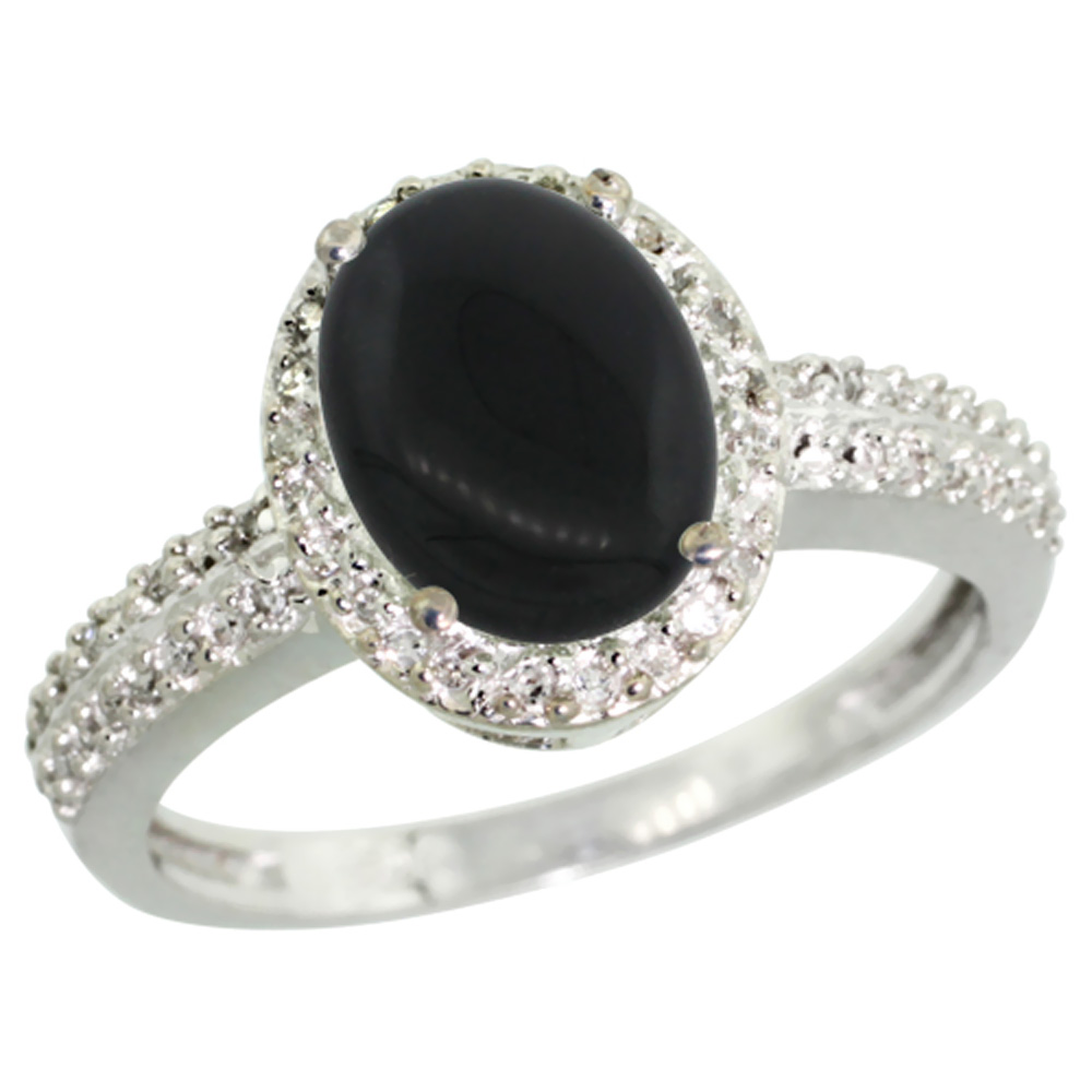 14K White Gold Diamond Natural Black Onyx Ring Oval 9x7mm, sizes 5-10