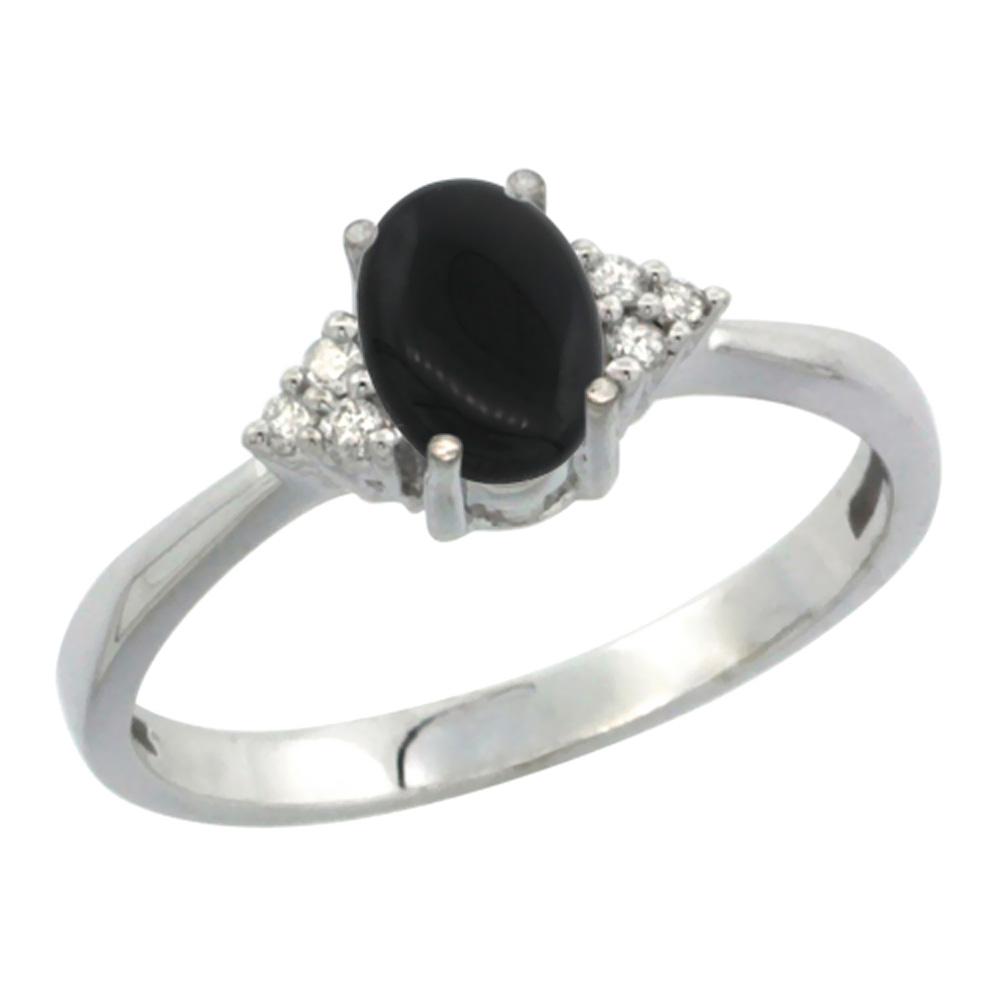 10K White Gold Diamond Natural Black Onyx Engagement Ring Oval 7x5mm, sizes 5-10