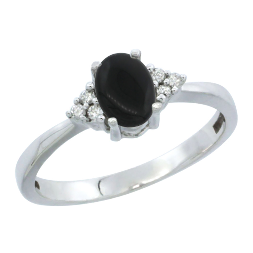 14K White Gold Natural Black Onyx Ring Oval 6x4mm Diamond Accent, sizes 5-10