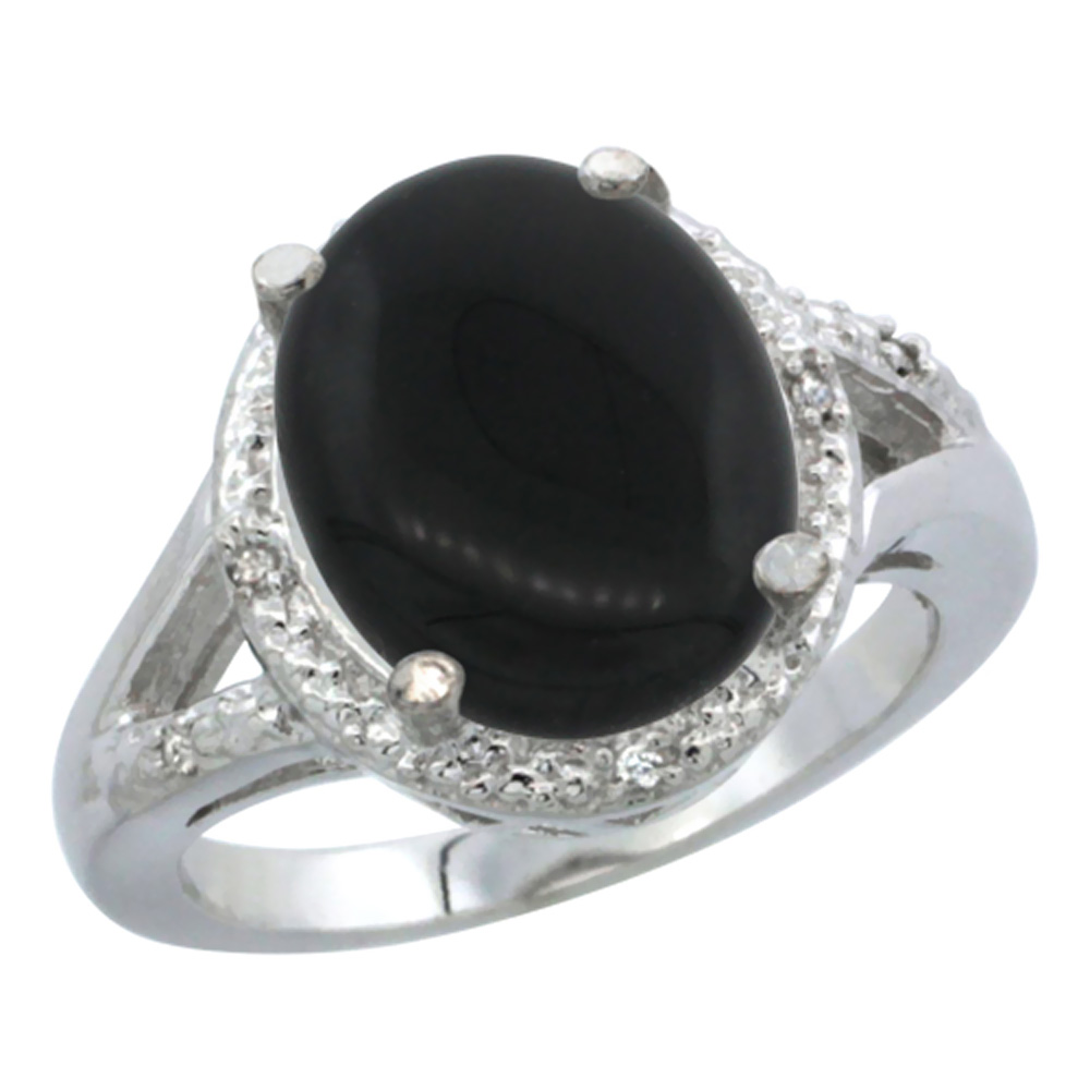 14K White Gold Natural Onyx Ring Oval 12x10mm Diamond Accent, sizes 5-10