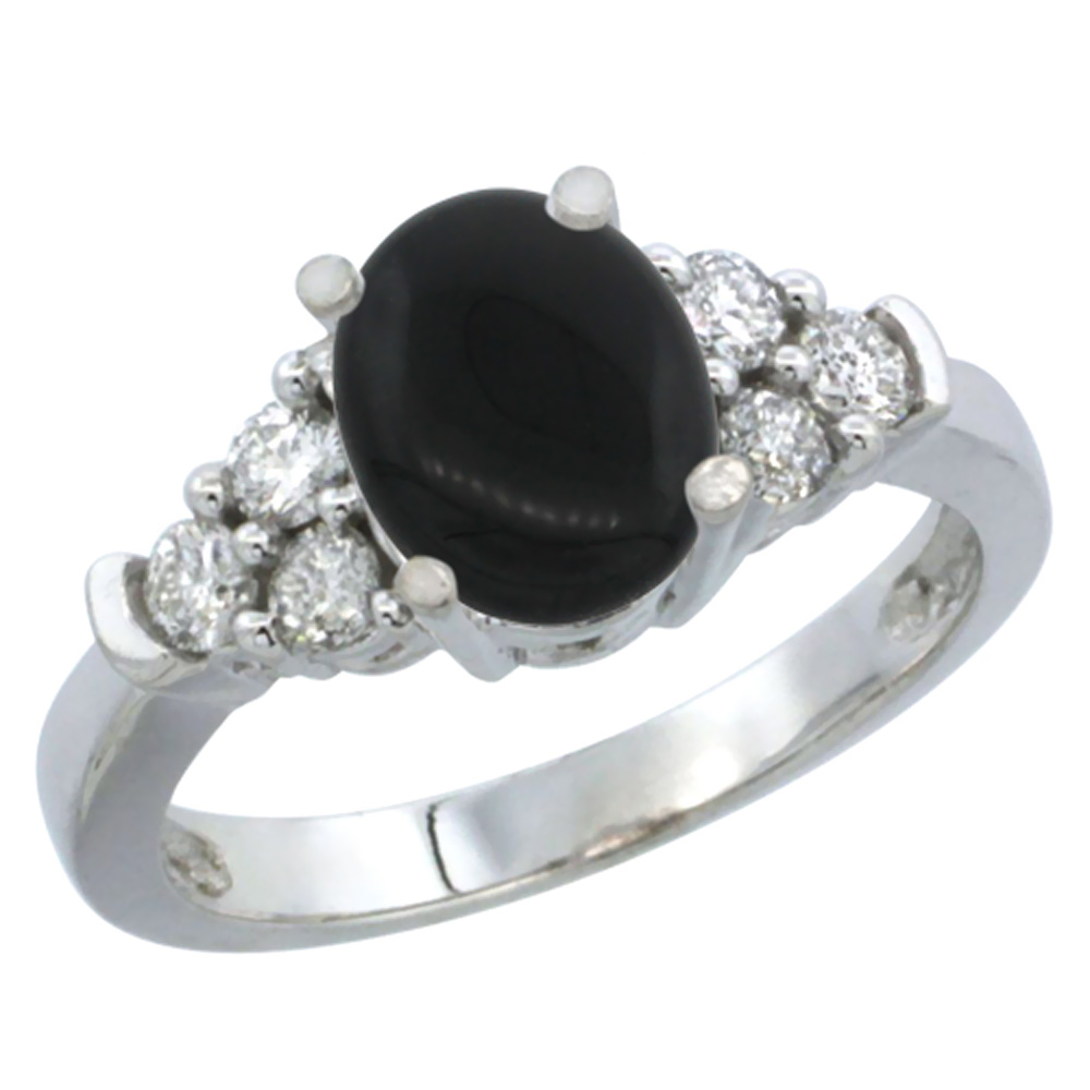 14K White Gold Natural Black Onyx Ring Oval 9x7mm Diamond Accent, sizes 5-10
