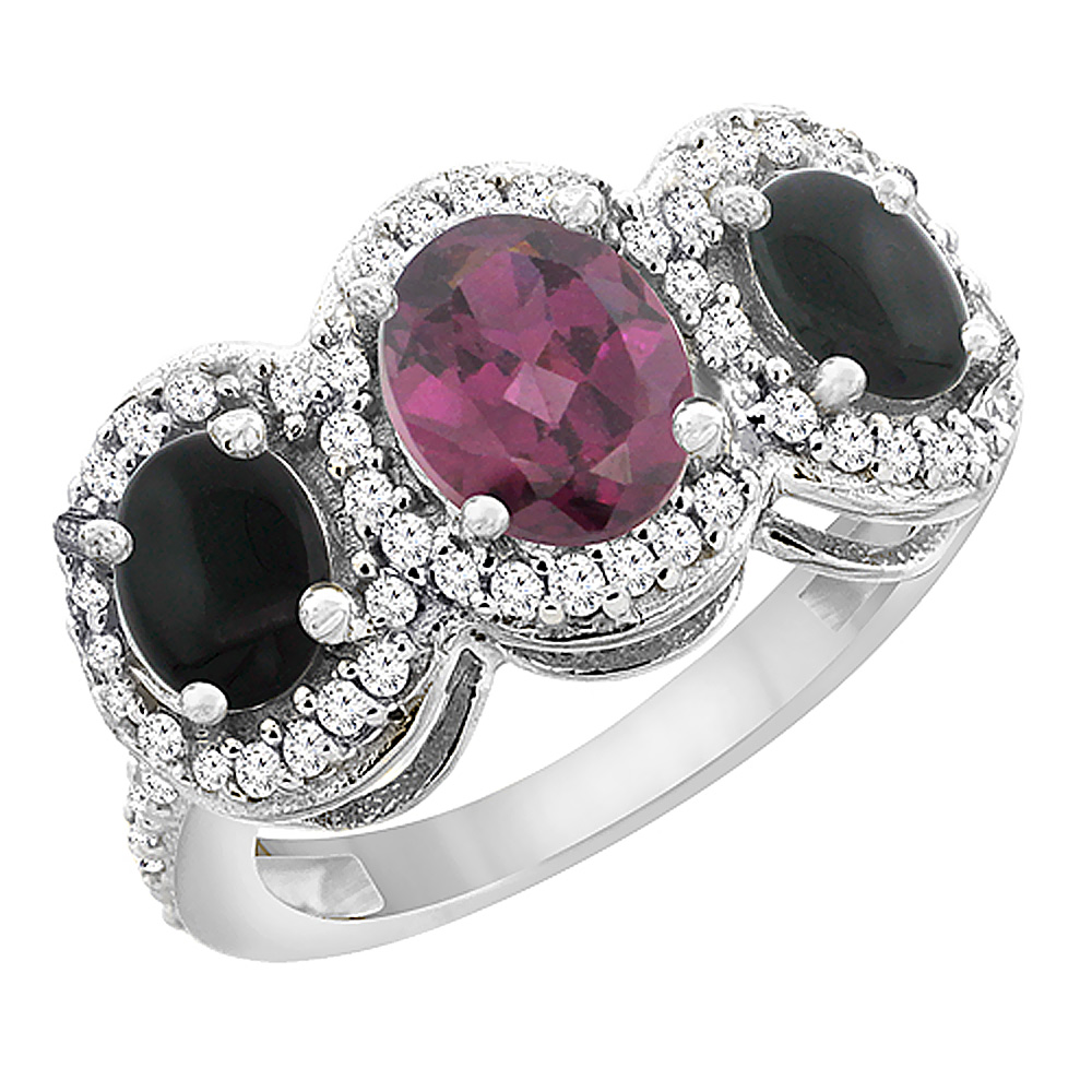 10K White Gold Natural Rhodolite & Black Onyx 3-Stone Ring Oval Diamond Accent, sizes 5 - 10