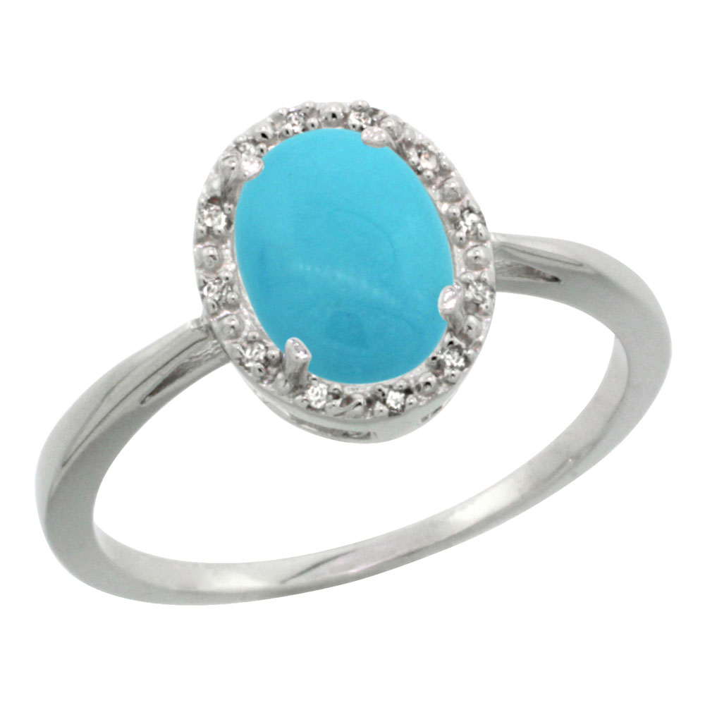 10K White Gold Natural Sleeping Beauty Turquoise Diamond Halo Ring Oval 8X6mm, sizes 5-10