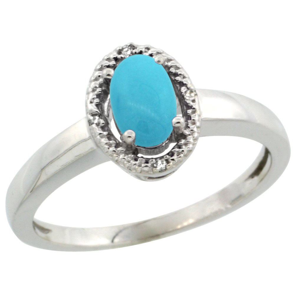 10K White Gold Natural Diamond Halo Sleeping Beauty Turquoise Engagement Ring Oval 6X4 mm, sizes 5-10