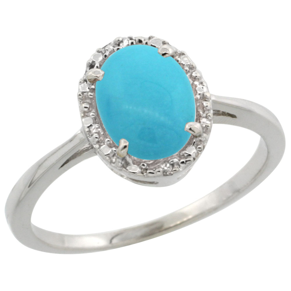 10k White Gold Natural Turquoise Ring Oval 8x6 mm Diamond Halo, sizes 5-10