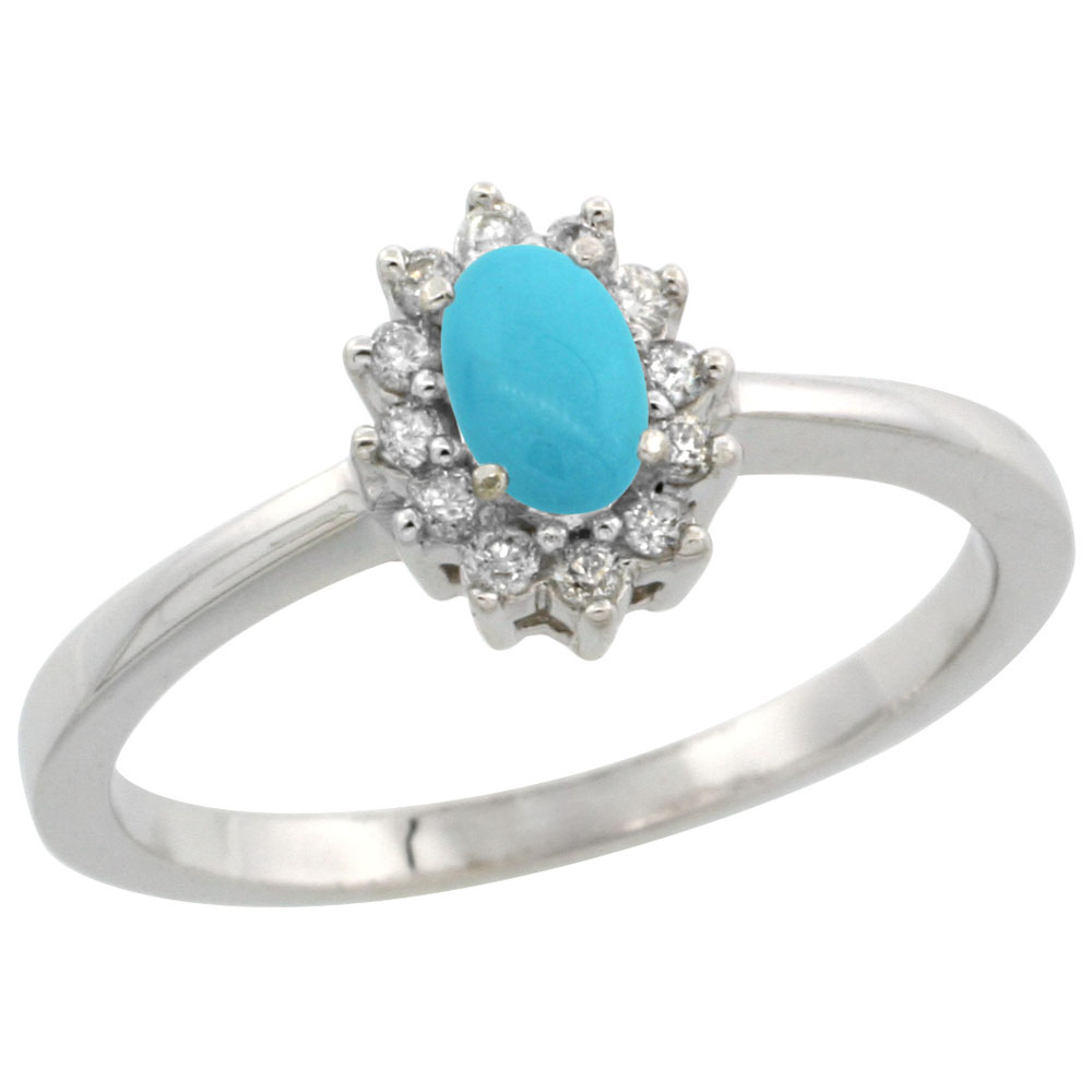 10k White Gold Natural Turquoise Ring Oval 5x3mm Diamond Halo, sizes 5-10