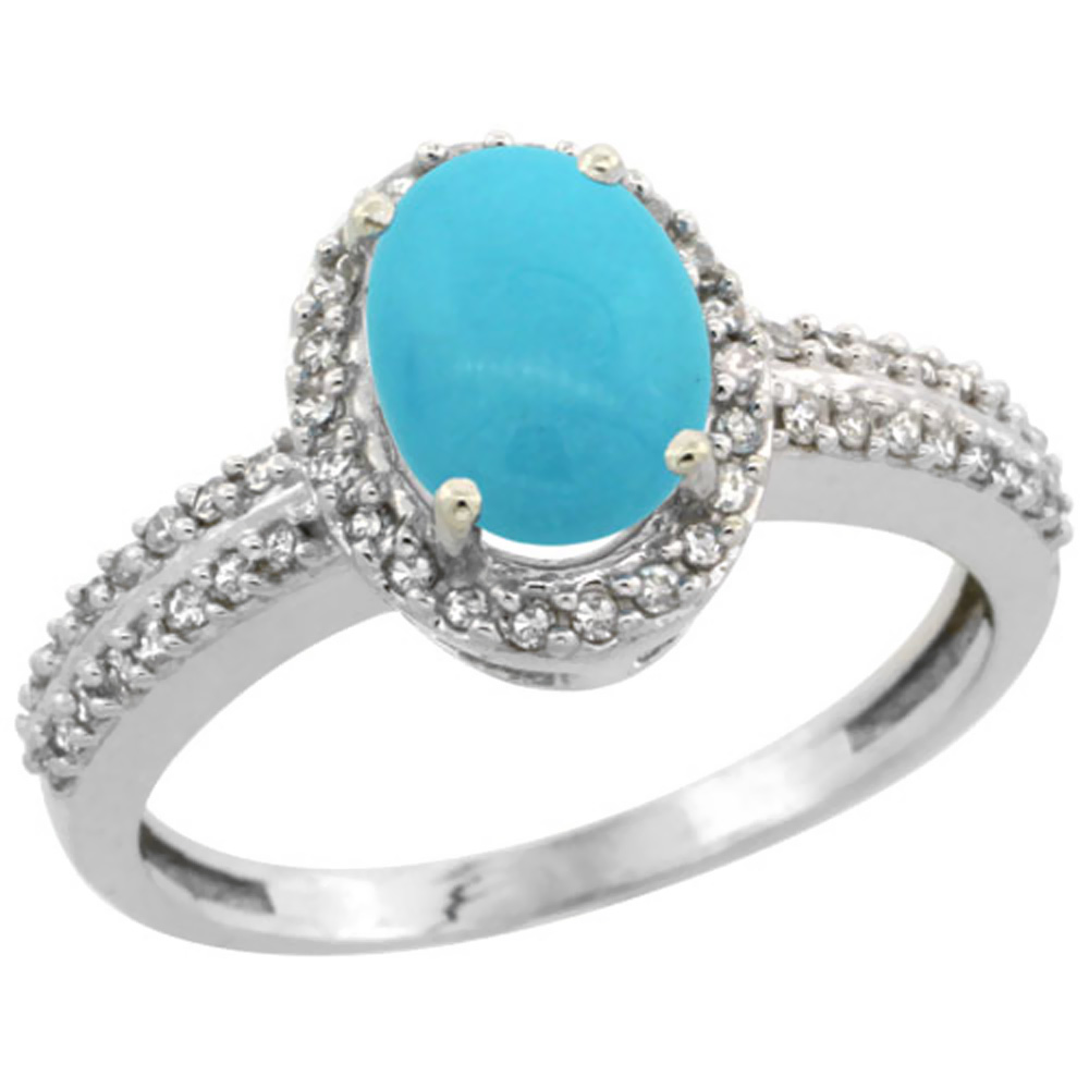 10k White Gold Natural Turquoise Ring Oval 8x6mm Diamond Halo, sizes 5-10