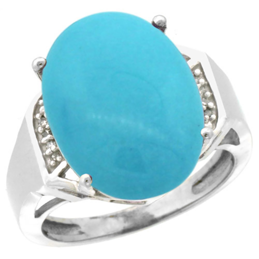 10K White Gold Natural Diamond Sleeping Beauty Turquoise Ring Oval 16x12mm, sizes 5-10