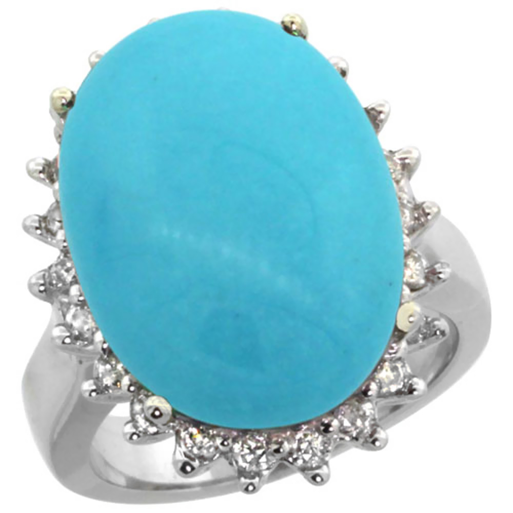10k White Gold Diamond Halo Natural Turquoise Ring Large Oval 18x13mm, sizes 5-10