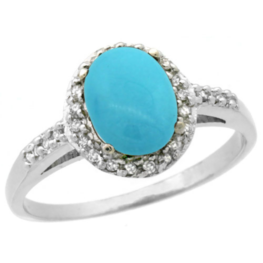 14K White Gold Natural Diamond Sleeping Beauty Turquoise Ring Oval 8x6mm, sizes 5-10