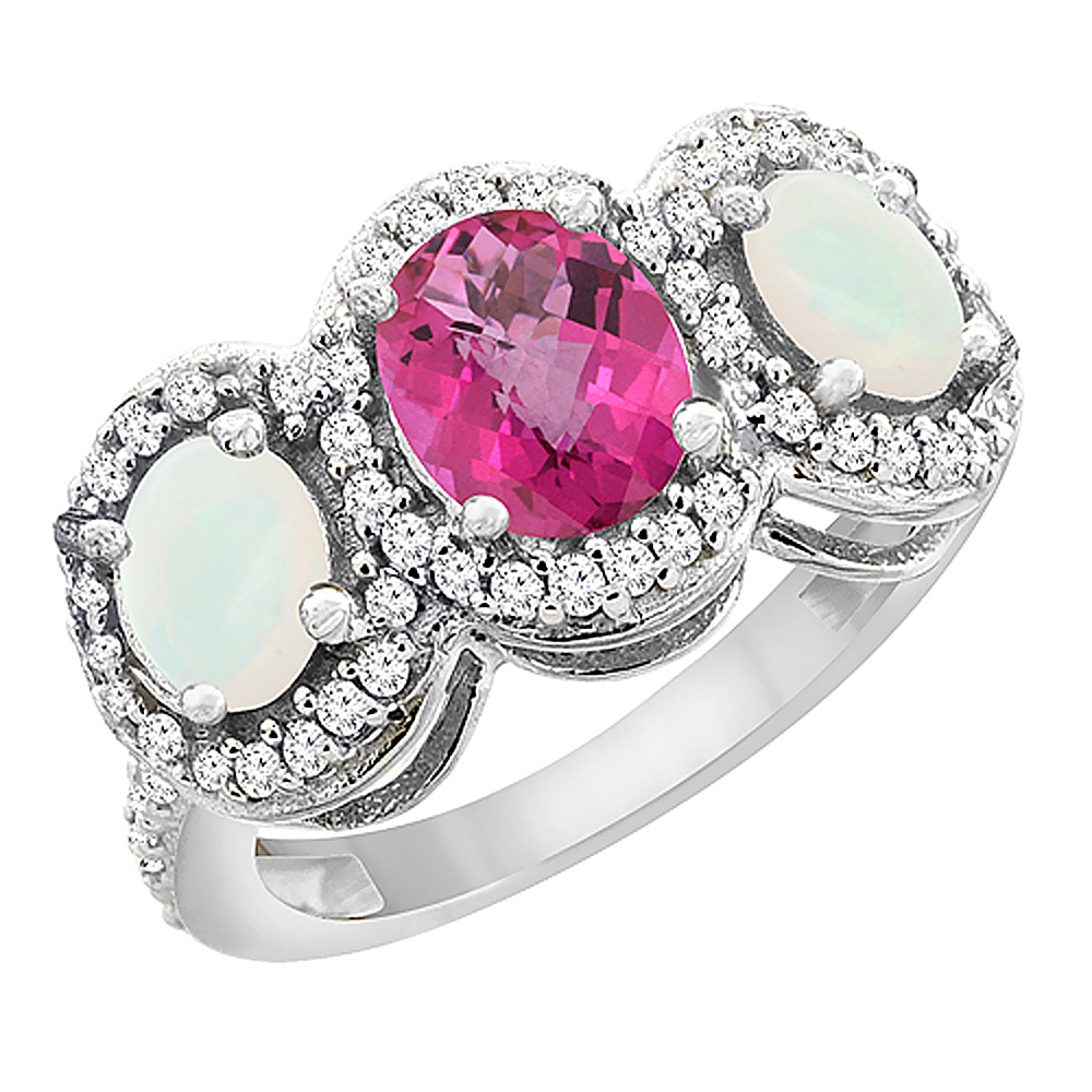 14K White Gold Natural Pink Sapphire & Opal 3-Stone Ring Oval Diamond Accent, sizes 5 - 10