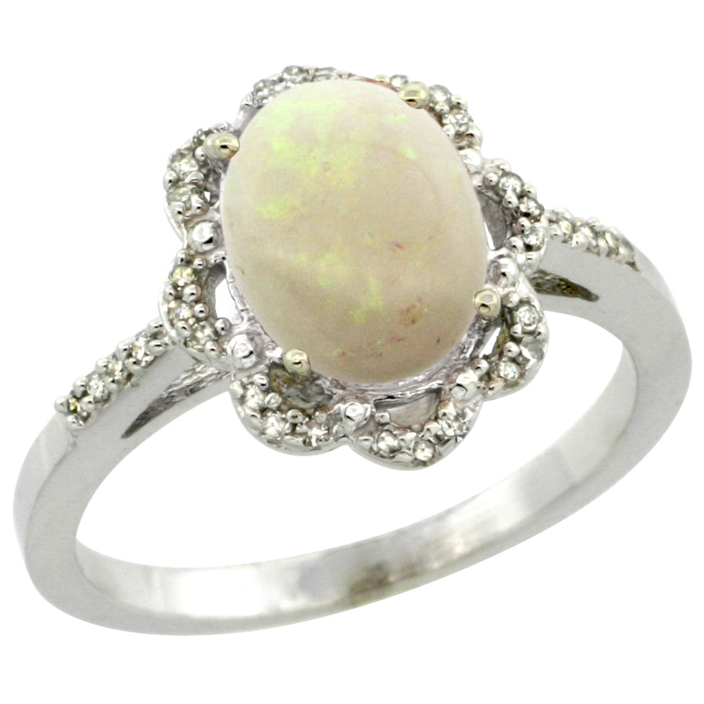 10K White Gold Diamond Halo Natural Opal Engagement Ring Oval 9x7mm, sizes 5-10