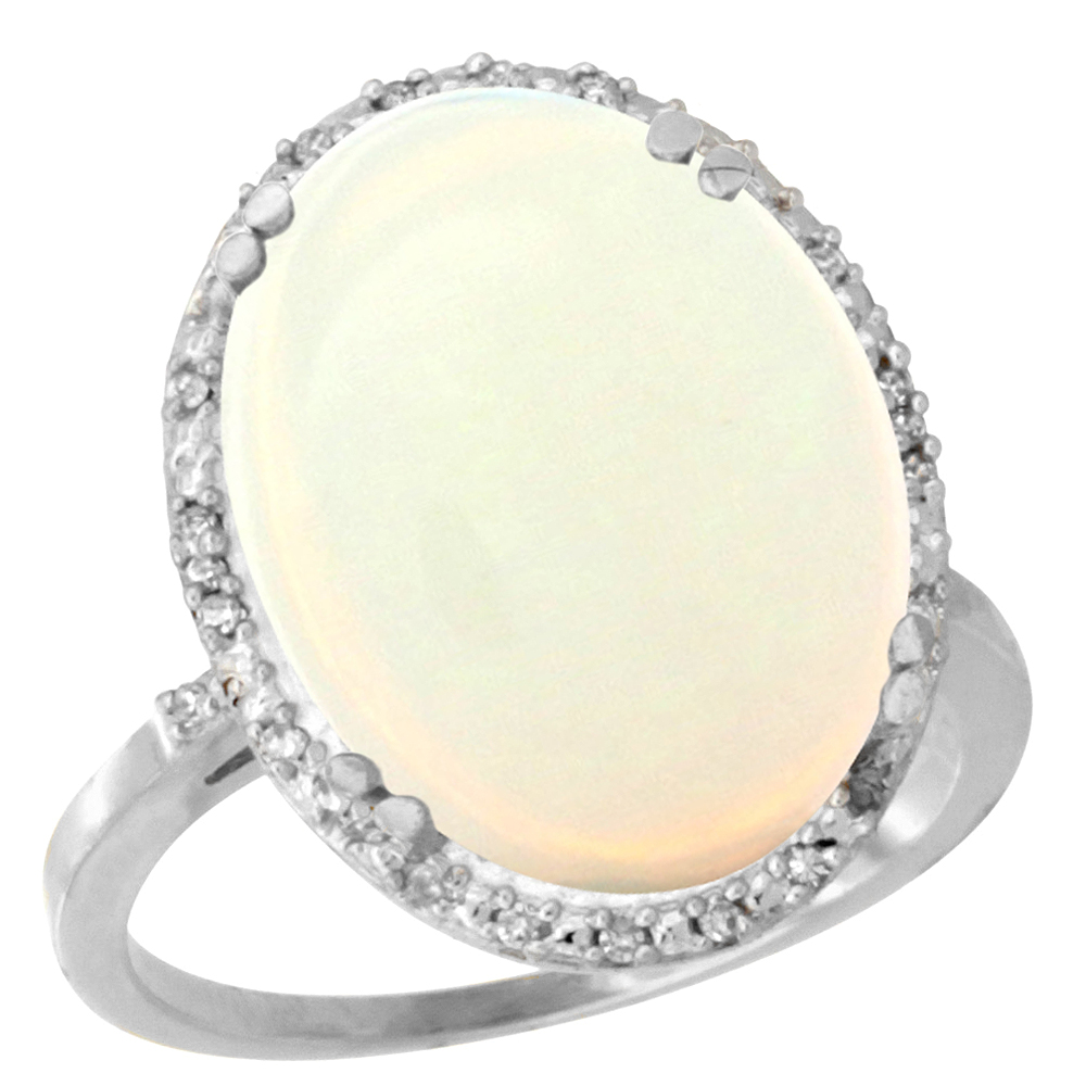 14K White Gold Natural Opal Ring Large Oval 18x13mm Diamond Halo, sizes 5-10