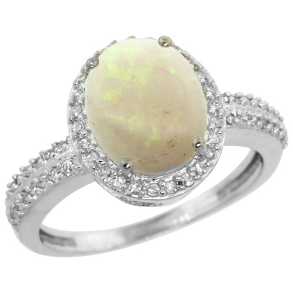 14K White Gold Diamond Natural Opal Engagement Ring Oval 10x8mm, sizes 5-10