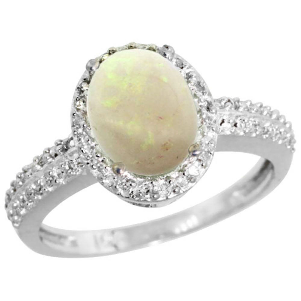 14K White Gold Diamond Natural Opal Ring Oval 9x7mm, sizes 5-10