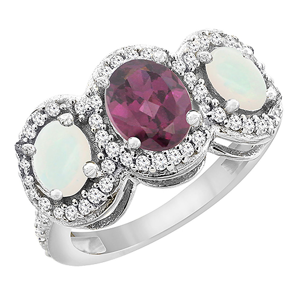 10K White Gold Natural Rhodolite & Opal 3-Stone Ring Oval Diamond Accent, sizes 5 - 10
