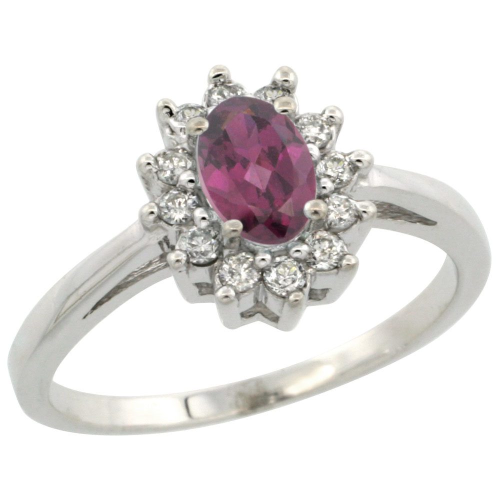 10K White Gold Natural Rhodolite Flower Diamond Halo Ring Oval 6x4 mm, sizes 5 10