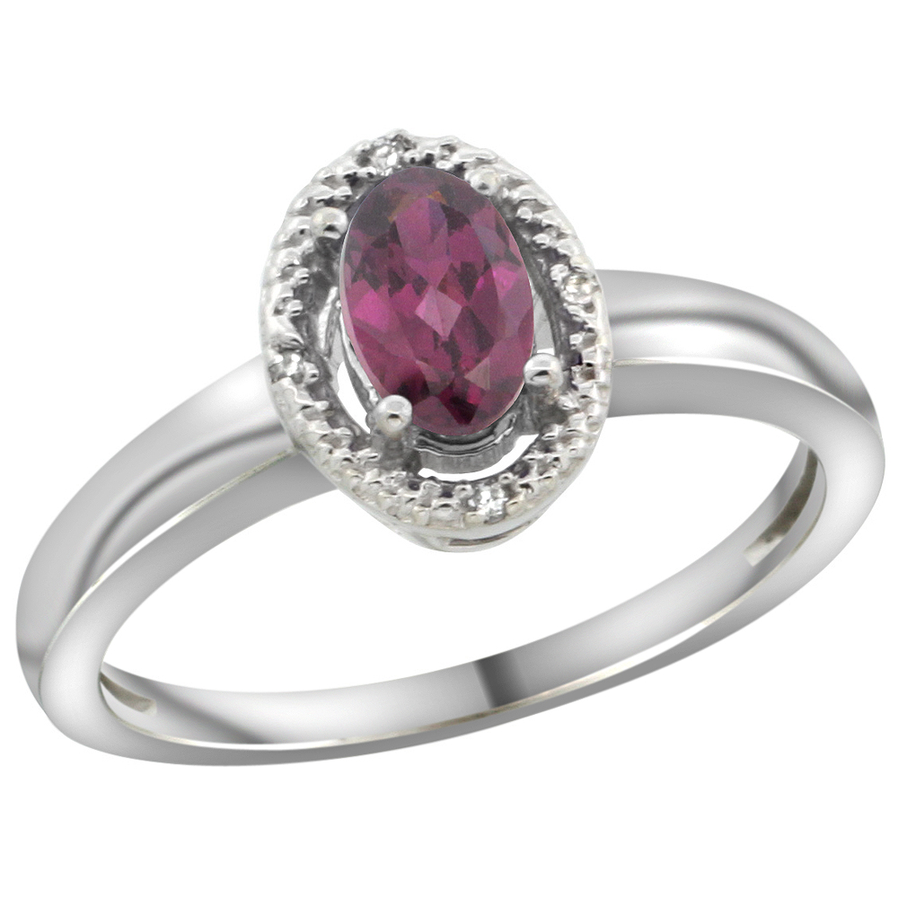 10K White Gold Diamond Halo Natural Rhodolite Engagement Ring Oval 6X4 mm, sizes 5-10