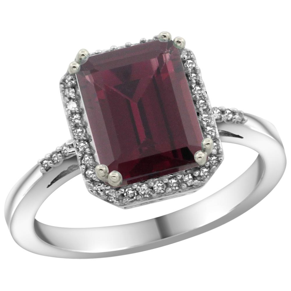 10K White Gold Diamond Natural Rhodolite Ring Emerald-cut 9x7mm, sizes 5-10