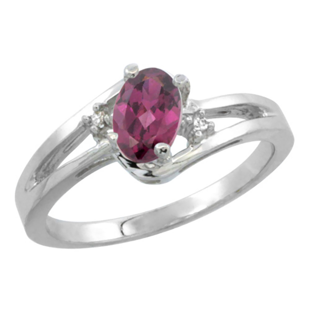 14K Yellow Gold Diamond Natural Rhodolite Ring Oval 6x4 mm, sizes 5-10