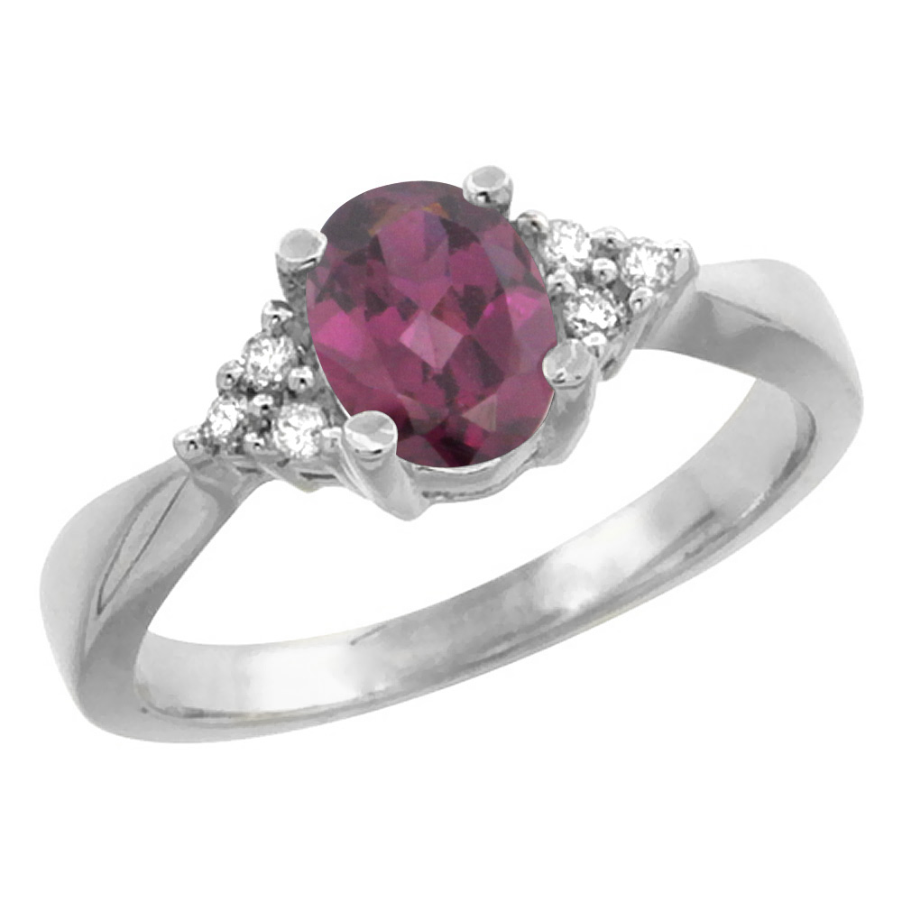 10K White Gold Diamond Natural Rhodolite Engagement Ring Oval 7x5mm, sizes 5-10