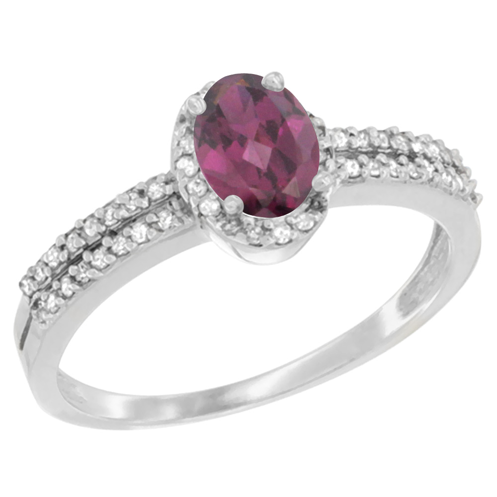 10K White Gold Natural Rhodolite Ring Oval 6x4mm Diamond Accent, sizes 5-10