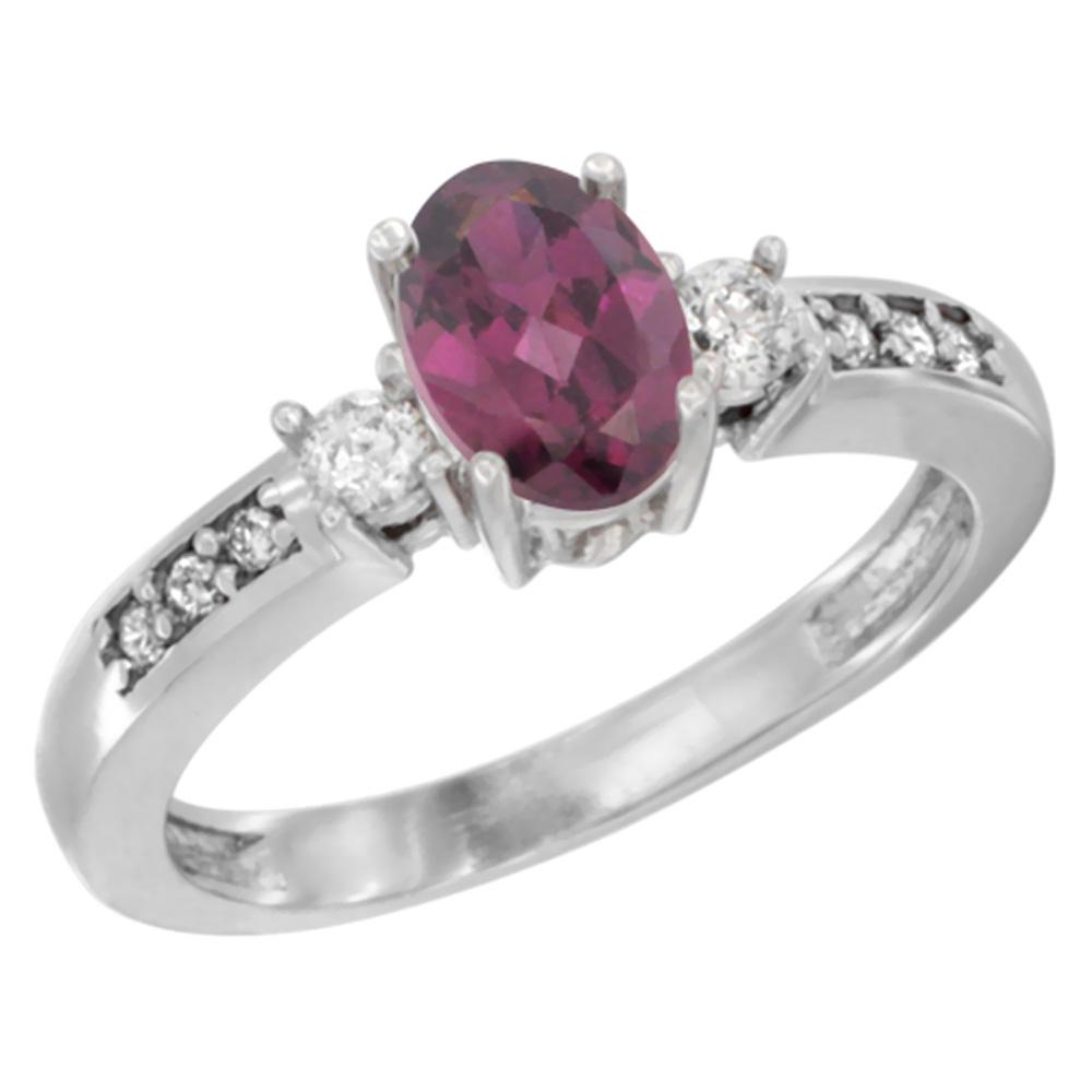 14K White Gold Diamond Natural Rhodolite Engagement Ring Oval 7x5 mm, sizes 5 - 10