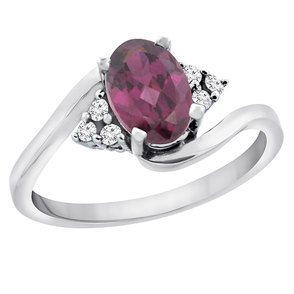 14K Yellow Gold Diamond Natural Rhodolite Engagement Ring Oval 7x5mm, sizes 5 - 10
