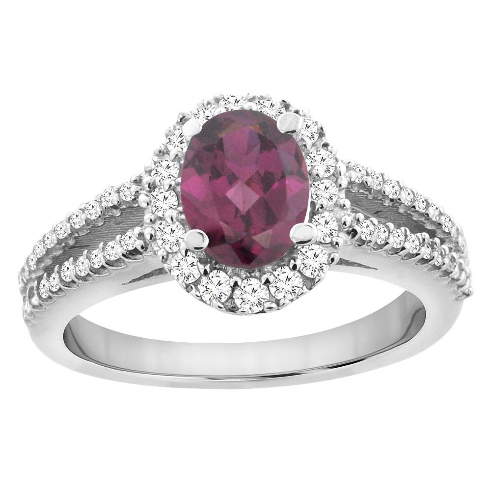 10K White Gold Natural Rhodolite Split Shank Halo Engagement Ring Oval 7x5 mm, sizes 5 - 10